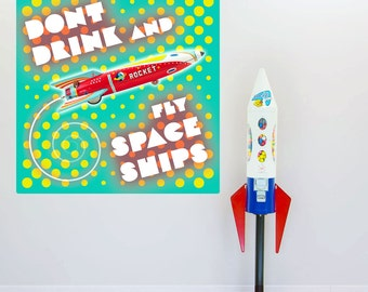 Dont Drink And Fly Space Ships Wall Decal - #55746