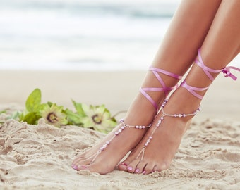 Barefoot Sandles, lilac wedding, pink bridesmaid foot jewelry, beaded feet jewlery, soleless sandals, beach shoes. GEORGIA Lilac