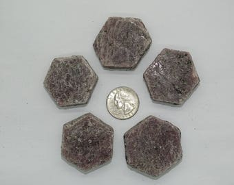 "Bulk lg. 1.32"" X 1.52"" Natural Hexagon Ruby Crystals #3B-5 PCS-Best price"