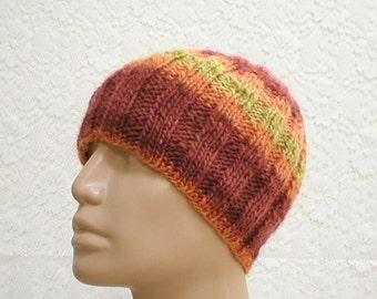 Wool beanie hat, rust orange mustard yellow, striped hat, ribbed beanie hat, knit hat, toque, wool hat, mens womens hat, beanie hat, hiking