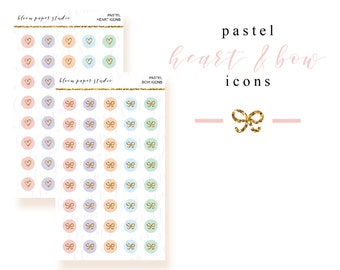 Pastel Hearts and Bow Icon Stickers