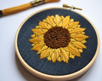 Hand embroidered sunflower embroidery hoop.