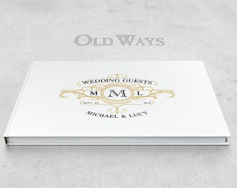 Monogrammed Crest Wedding Guest Book - Vintage Wedding - White, Black, Gold - Black Page Option - Personalized Wide Guest Book