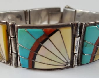 Vintage Southwest Sterling Inlay Bracelet, Zuni Turquoise, Mother of Pearl, Coral, Panel Bracelet, Signed Sunburst Sterling
