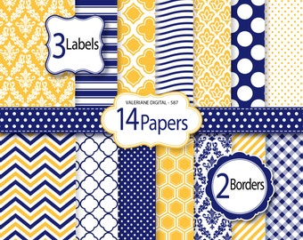 Navy blue and yellow Digital Paper and clipart pack, damask digital paper, polka dots wave chevron patterns - Pack 587
