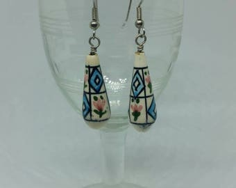Hand Painted Bead Earrings with Surgical Steel Ear Hooks