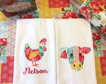 Set of 2 Kitchen Towels- chickens, made to match, farmhouse, cows, country, farm kitchen