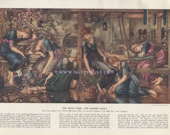 Enchanted Spell-Briar Rose-Fairy Tale-1922 Antique Vintage Art Print-Gothic Picture-Burne-Jones-Sleeping Beauty-Witch-Maleficent-Dreaming