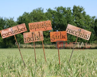 Classic Metal Garden Markers, herb marker, garden marker, garden markers, vegetable marker, gardener gift, garden signs, garden stakes, herb