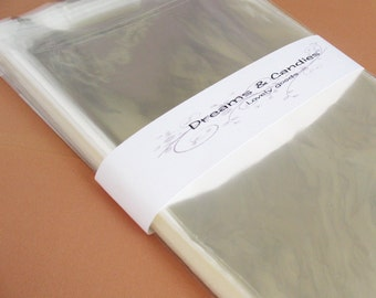25- 5 3/4 x 8 3/4 Resealable Clear Cello Bags -Transparent Cello Bags -Self Adhesive Cello Bags -Food Safe Cello Bags -Clear Cellophane Bags