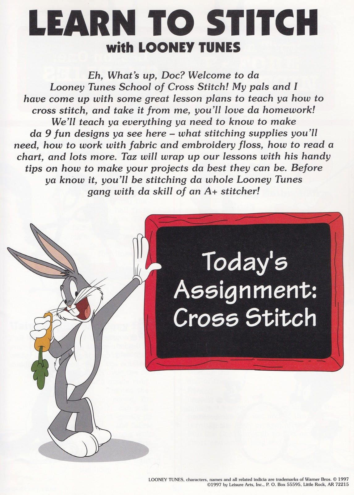 Aprender a coser con Looney Tunes, ocio artes cruzan puntada patrón ...