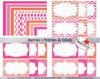Berries Frames & Labels: Clip Art Pack Card Making Digital Frames Page Borders Chevron Dots Stripes