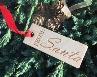 Santa Gift Tag, Secret Santa Tag, From Santa Tag, Silver Santa Tag, Christmas tag 2017, Present Wrapping, Silver Gift Tag, Rustic Gift Tag