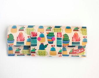 Handmade Vinyl Long Wallet - Succulents, cactus, plant wallet, gardener, cute wallet, vegan, large wallet, clutch, zipper, card case