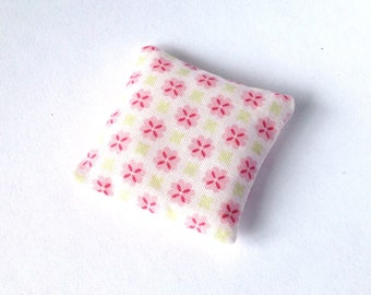 Miniature throw pillow, Romantic floral mini pillow 1:12 scale, Dollhouse miniature cushion, floral pink doll decor, ONE pillow m34