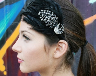 Black Peacock Feather Headband With Gothic Crystal Peacock Embellishment