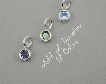 Charms - Birthstone Charms - Sterling Silver, birthstone necklace, crystal necklace, birthday gift, gemstone necklace, amethyst, aquamarine