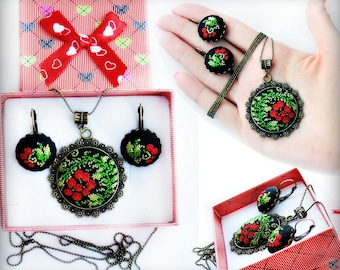 Micro embroidery set red berries of Necklace and Earrings, Hand Embroidery, Gift for women, embroidered  jewelry