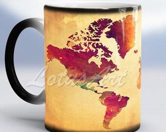 World map travel mug etsy world map mug color changing mug travel map world map watercolor vintage style map travel memories mug world art mug birthday gift magic mug gumiabroncs Image collections