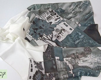 Black White Silk Scarf hand painted, Architectural scarf, Batik, Unique Holiday Women Gift, Fashion Scarf, Chic Gift Her Wife Girlfriend Mom