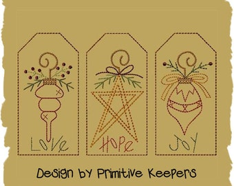 Christmas Ornament-3 Tag Designs-Primitive Machine Embroidery-5x7-INSTANT DOWNLOAD