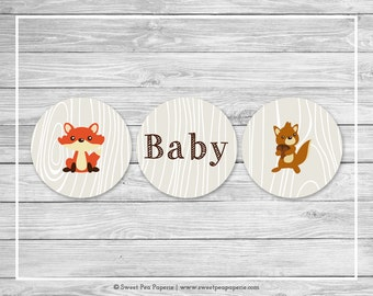 Woodland Animals Baby Shower Cupcake Toppers - Printable Baby Shower Cupcake Toppers - Woodland Animal Baby Shower - Cupcake Toppers - SP105
