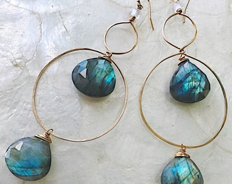 Faceted Labradorite Goldfill Double Hoops