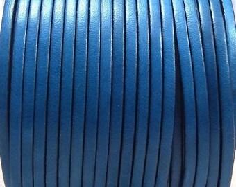 Ultramarine blue flat leather 3mm by 1 metre (1.09 yard 3.28 feet)