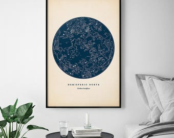 Star Chart Print, Northern Constellations, Star Map, Star Print, Nautical Decor, Astronomy Poster, Celestial Wall Art, Dorm Wall Decor