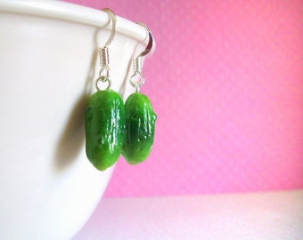 Pickle Earrings, Polymer Clay Food Funny Handmade Earrings, Foodie Chef Polymer Clay Food, Miniature Food, Funny Food, Jewelry Gift for Her