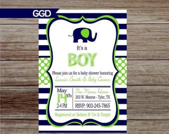Baby Shower Invitation, baby boy shower invitation, elephant baby shower invite, preppy baby shower invite, navy and green baby shower