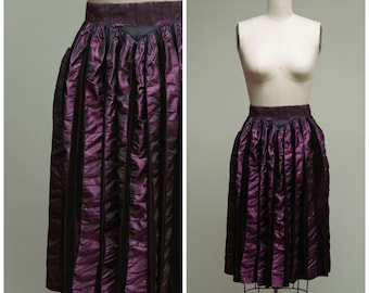 50s Vintage Skirt • Live Lavishly • Metallic Purple Striped Taffeta Vintage 1950s Skirt Size Small