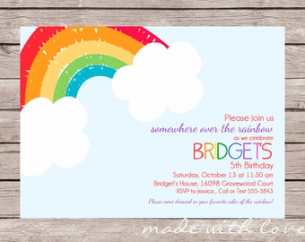 Rainbow Party Invitation, personalized and printable, 5x7