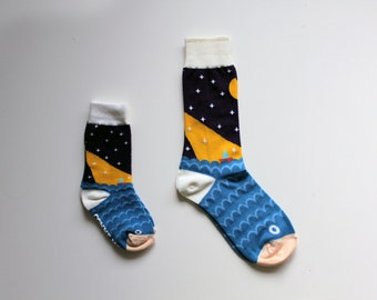 Like me socks - for kids and parents / / SEA, FISH and BOAT