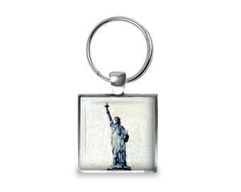 New York Statue of Liberty - Glass Photo Keychain - Handmade