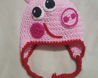Crocheted Peppa Pig inspired hat