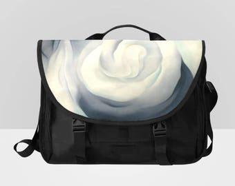 Black and White Rose Laptop Messenger Bag Distressed