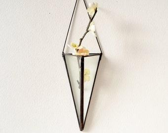 Wall Art Prism, Hanging planter, Wall Decor, Vertical Garden, Glass Geometric Plant Holder, Glass Terrarium