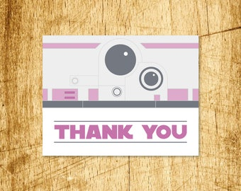 "Star Wars BB8 Thank You Card PINK  |  Blank Interior  |  Printable Digital Download  |  5.5x4.25"" A2"