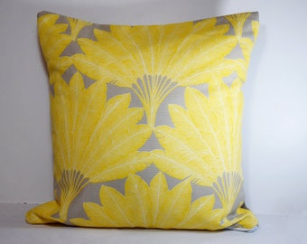 Cushion range 40 x 40 cm exotic / tropical yellow and taupe - Christmas Decor-gift personalized - initial - last name
