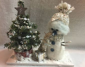 Blue/Silver Snowman with Decorated Snowy Christmas Tree Display (#047)
