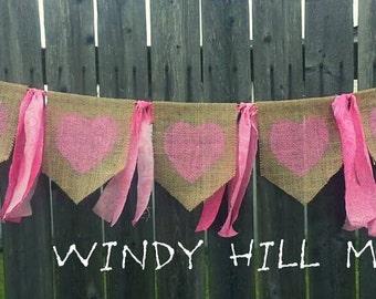 Pink Hearts Burlap Banner