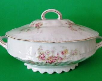 Victoria Austria Large Tureen, Antique Bohemian Porcelain, Austrian Porcelain, Vintage