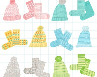 Winter hats and socks clipart - Hand drawn instant download PNG graphics - 0018