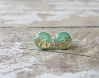 Mint gold earrings, Mint earrings stud, Gold and mint green studs, Bridesmaids earrings, Elegant earrings, Gold foil earrings, Cute studs