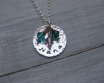 Nana Necklace Sterling Silver Nana Jewelry Birthstone Necklace Hand Stamped Personalized Jewelry Mimi Necklace Grandmothers Necklace