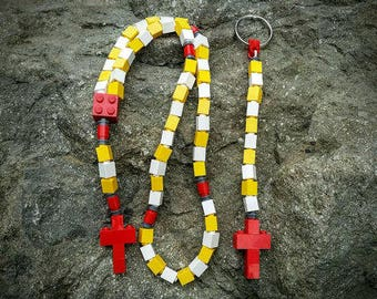 The Original Mementomoose Rosary and Chaplet Set Made with Lego Bricks - Yellow, White and Red - First Communion Special!