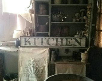 Early looking Antique Primitive KITCHEN Wooden Sign