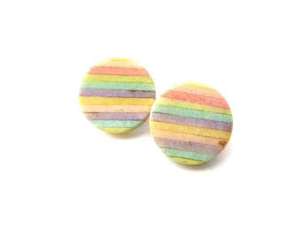 Pair of 1980's Unmarked Colorful Striped Rainbow Limestone Circular Shaped Gold Tone Pierced Vintage Earrings