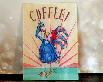 Cutting Board LARGE Coffee Rooster Morning Sunrise Tempered Glass 11x15